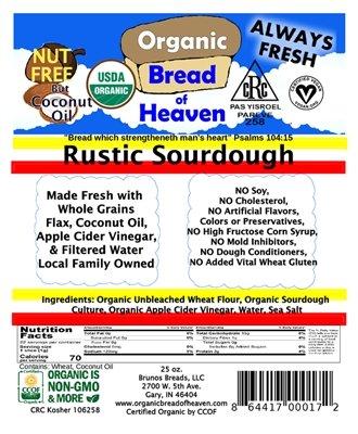 Organic Bread of Heaven ~ Rustic Sourdough Bread - 2 loaves ~ USDA Organic