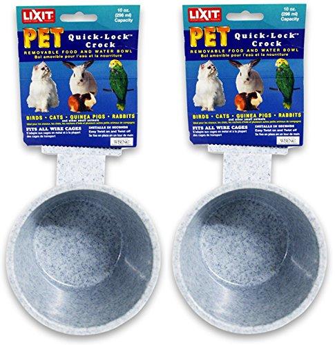 Lixit 2 Pack Corporation Quick Lock Crock for Feeding Pets, 10-Ounce, Granite (Lixit Crock)