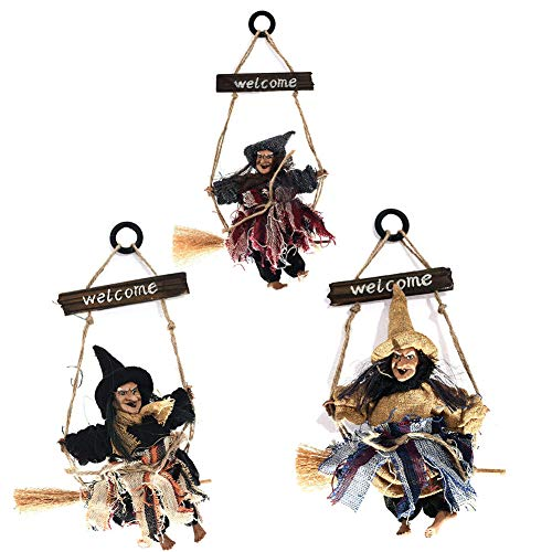 Adv-one Hanging Witch, Halloween Hanging Witch Props for House Bar Decor-Horror Ghost Devil Wizard Figurine Ornaments Holiday Season Festive Decoration Kids Children's, 3 Pack