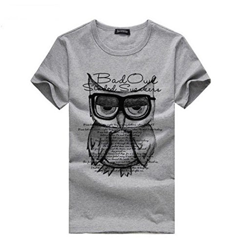 Price comparison product image Men T-Shirts, FUNIC Fashion Men Boy Printing Owl Tees Shirt Cotton T Shirt Clothes (Large,  Gray)