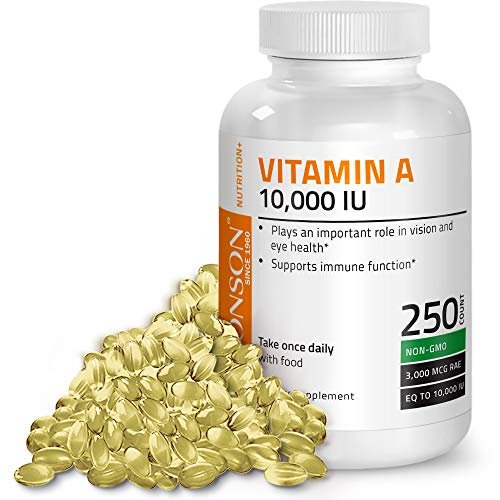- Bronson Vitamin A 10,000 IU Premium Non-GMO Formula Supports Healthy Vision & Immune System and Healthy Growth & Reproduction, 250 Softgels