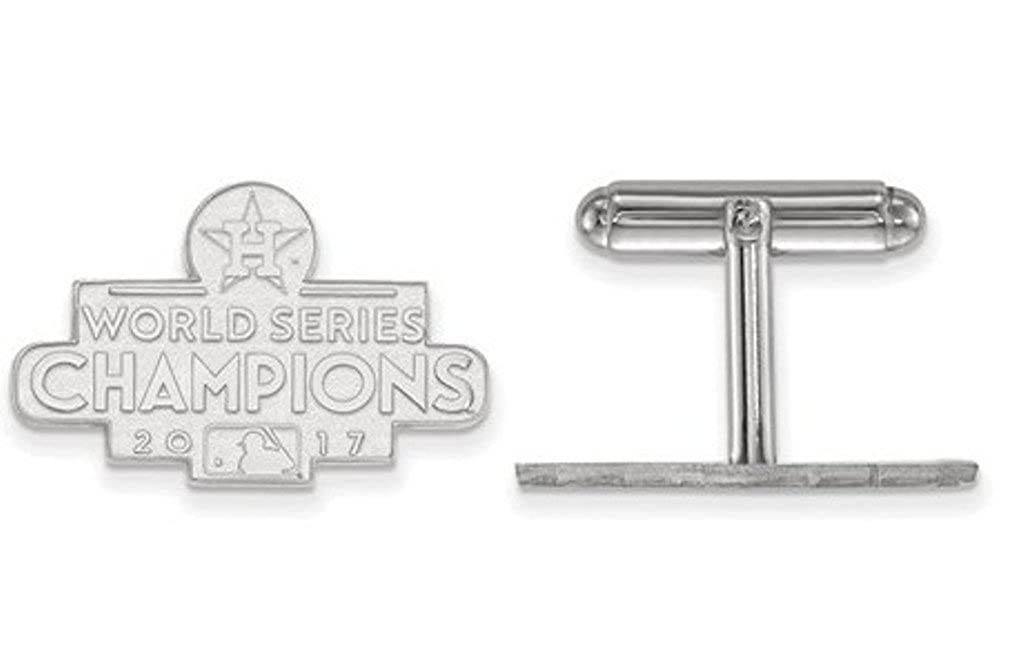 Rhodium-Plated Sterling Silver 2017 World Series Champions Houston Astros Cuff Links The Fine Gentlemen' s Bullet Back CuffLinks Beautiful Cuff Links from The Men' s Jewelry Store 925 Wsc Astros Cufflinks