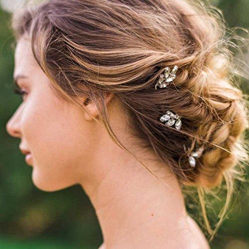 Unicra Bridal Hair Pins-Bridal Crystal Pearl Bead Hair Pins 3 Pieces (Silver)