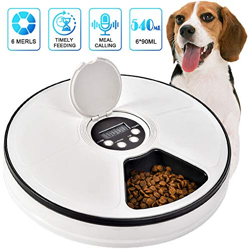 Pet Automatic Feeder Cats Dogs, Timed Feed 6 Meal Trays Dry Wet Food Dispenser with Voice Remind,LCD Smart Programmable Self Feeder Clock (Black 1)
