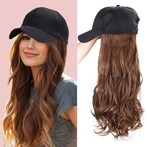 ENTRANCED STYLES Baseball Cap with Hair Synthetic Hats with Hair Attached Black Hat with Hair Attached Long Wavy Hair for Women Daily Party Use(8/30) (Baseball Cap Style)