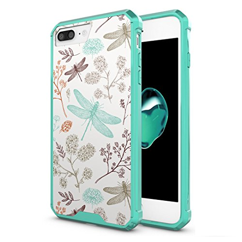 iPhone 7Plus Case, Capsule-Case Hybrid Slim Hard Back Shield Case with Fused TPU Edge Bumper (Teal Green) for iPhone 7 Plus - (Dragonfly)