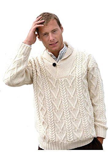 100% Irish Merino Wool Shawl Collar Aran Sweater, Army Green, Large ()