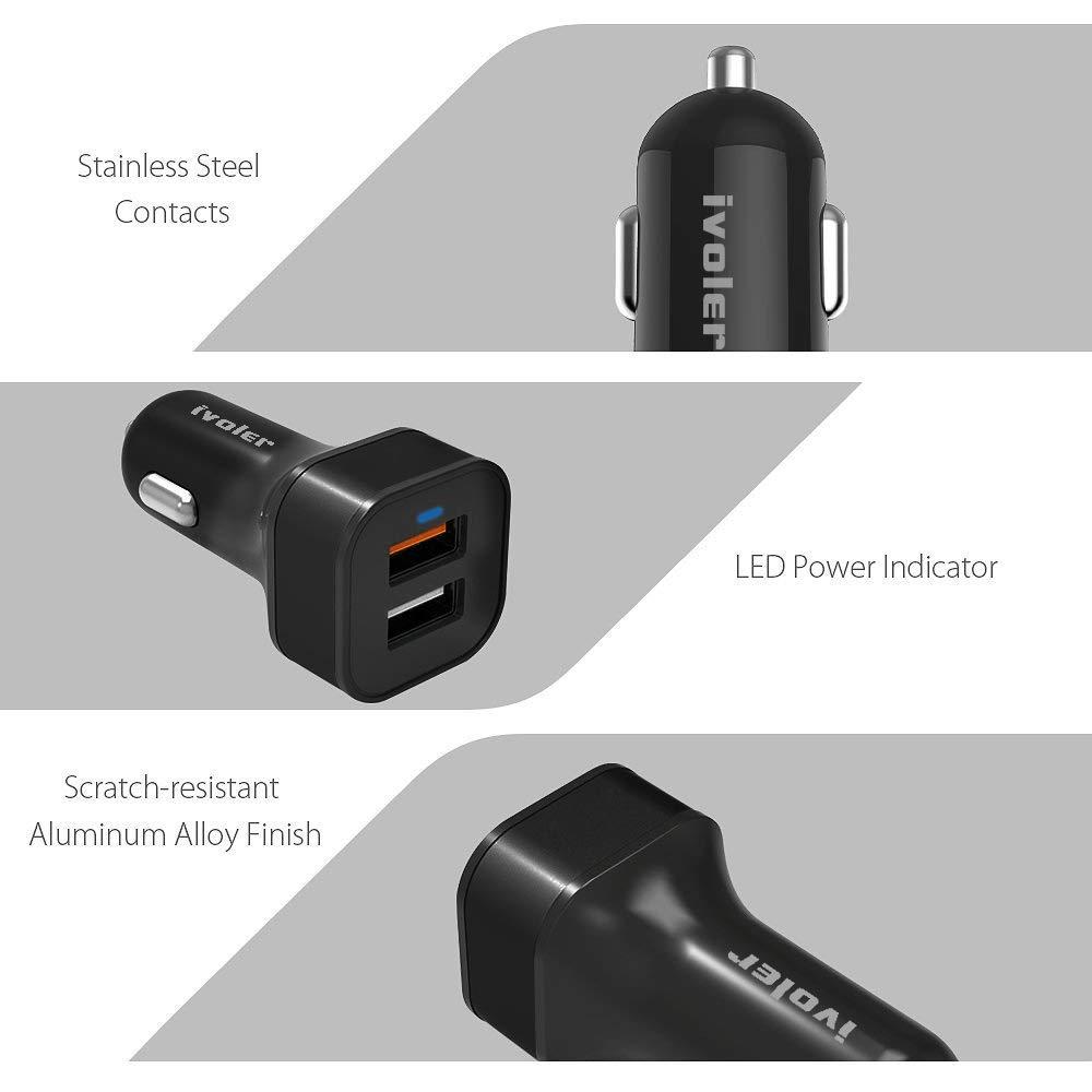 con Cavo iPhone 1m QC 3.0 Porta + Qsmart Porta 5V//2.4A + Cavo 2 in 1 Type C e Micro USB Cavo Ricarica 1m Nero//Argento iVoler Quick Charge 3.0 30W 2 Porte Caricatore USB da Auto