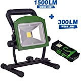 BONASHI LED Rechargeable Work Light with Detachable Flashlight, 20W Cordless Battery Operated Flood Lights, 2 in 1 Multifunctional Portable Worklight with Stand, Free Car Charger