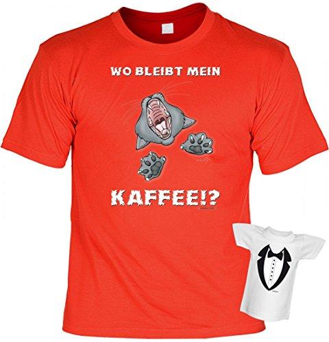T-Shirt für Morgenmuffel und Frühaufsteher - Wo bleibt mein Kaffee - Fauchende Katze - Set inkl. Minishirt als Geschenk