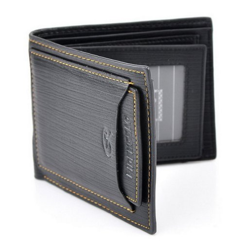 Cool Black Leather Product Men Billfold Wallet for Pocket Money Id Credit Cards