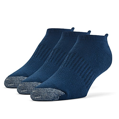 Blue No Show Socks - Galiva Men's Cotton Extra Soft No Show Cushion Running Socks - 3 Pairs, Medium, Navy Blue