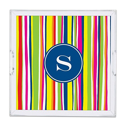 Personalized Lucite Trays - Chatsworth Bright Stripes Lucite Tray with Single Initial, W, Square, Multicolored
