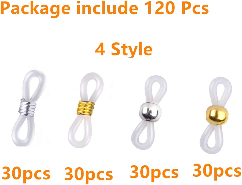40 Pieces Adjustable Eyeglass Chain Ends Eyeglasses Strap Holder Spectacle Chain Loops Anti-Slip Ends Retainer Rubber Connectors for Eyeglass Chain Necklace Chain,4 Styles
