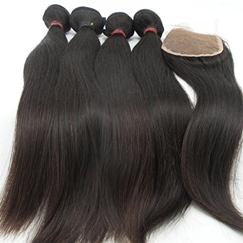"Generic Women's 4Bundles+1Closure Human Hair Direct 100% Brazilian Remy Human Hair Extensions Straight Wave 4Pcs16""*4 and 1piece Remy Hair Closure(4 * 4)14"""