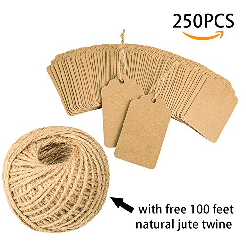 - 250 PCS Paper Tags Gift Favor Tag with 100 Feet Hang String