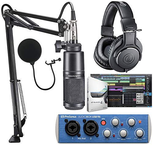 Audio-Technica AT2020PK Studio Microphone with ATH-M20x, Boom & XLR Cable Streaming/Podcasting Pack And PreSonus AudioBox USB 96 Audio Interface