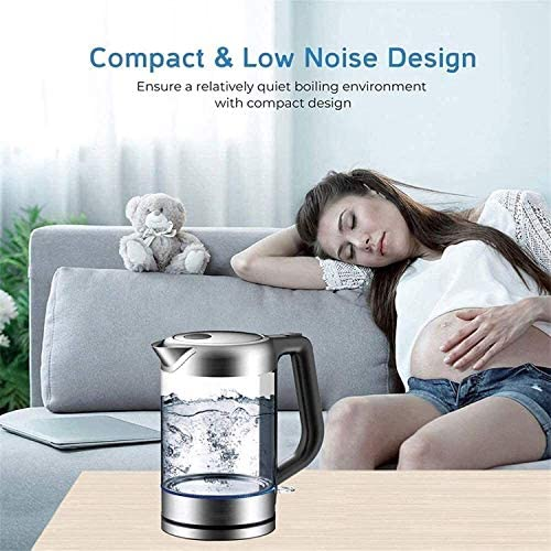 JY Glazen waterkoker, 1,8 liter, met temperatuurregeling, led-licht, houdt de draadloze waterketel automatisch uit, BPA-vrije keukenaccessoires