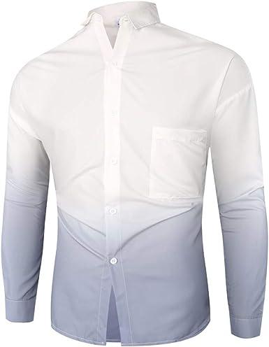 JiaMeng-ZI Camisas de Hombre Algodón Verano Casual Ropa de Moda Color Degradado Suave Cómodo Camisetas de Manga Larga Lapel Botones Ligero Transpirable Tops Shirt: Amazon.es: Ropa y accesorios