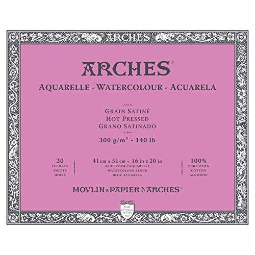 Arches Bloc Papier Aquarelle Grain Satiné 300G 41X51 Cm 20 Feuilles 1711606