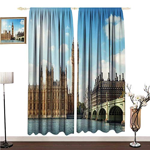 Anshesix Printed Curtain London Decor Collection Scenery of Iconic Big Ben Westminster Bridge Thames River and Houses of Parliament W96 xL96 Environmental Protection ()