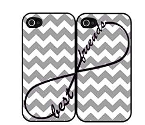 Gray Grey Chevron Print Infinity Sign Best Friends Set Iphone 4 4S Case