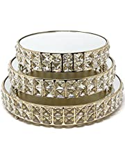 Allgala 3-Piece Set Crystal Gold Plated Cheese Dessert Cupcake Cake Stand with Mirror Plate-Gold Round-HD89202