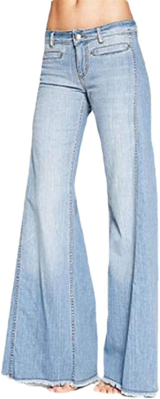 cheelot Women's Oversized Lounge Flared-legs Middle Waist Washed Jeans