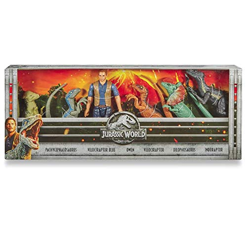 Jurassic World New Owen and Dinosaurs 6 Piece Set -- Owen and Blue, Indoraptor, Pachycephalosaurus, Velociraptor, and Dilophosaurus; Your Favorite Heroes and Villains from The Movie! (Set Fallen Figure)