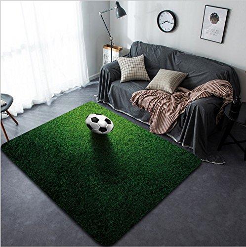 Vanfan Design Home Decorative soccer football on grass field Modern Non-Slip Doormats Carpet for Living Dining Room Bedroom Hallway Office Easy Clean Footcloth by vanfan