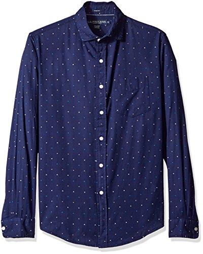 U.S. Polo Assn. Mens Long Sleeve Slim Fit Dotted Swiss Button Down Sport Shirt