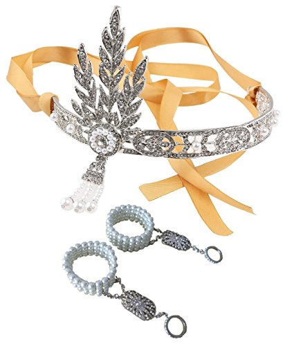 Great Gatsby Inspired Tiara with 2 Pearl Bracelet Set Flapper Party Headband Wedding Bridal Crown Comb ()