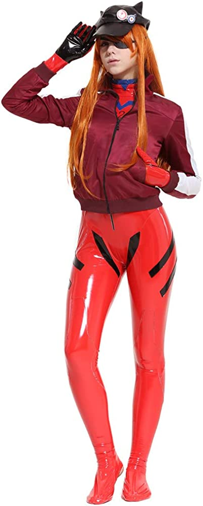 Cosplay.fm Women's Asuka Langley Sohryu Alter Costume Red Jersey Cap Cosplay Bodysuit with Jacket and Hat