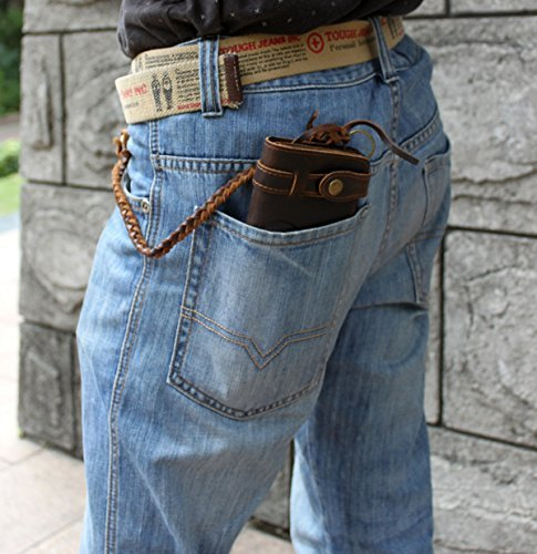 Véritable Unisexe Scuro nbsp; Modeshow Marron Bourse Poche Marrone Foncé Portefeuille Vintage Style Cuir wUEpqO