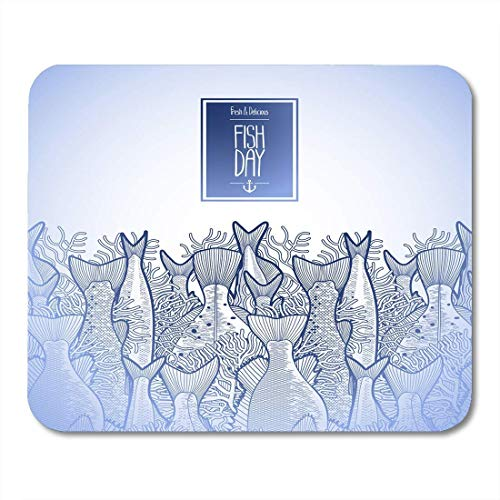 Kid Drawn Border - Mouse Pads Blue Kid Graphic Ocean Fish Drawn in Line Style Endless Border Sea Creatures for Seafood Design White Mouse Pad