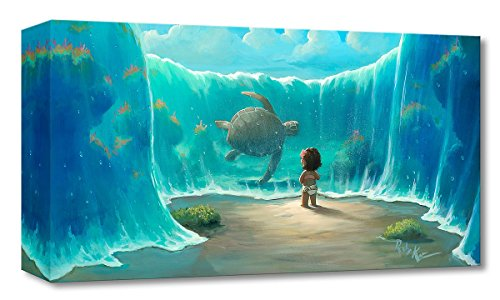 Disney Fine Art Moana:Moana's New Friend by Rob Kaz - Limited Edition 1,500 Gallery Wrapped Canvas - 10x20 NEW - Disney Treasures on Canvas - Published by (Pooh Edition Limited)