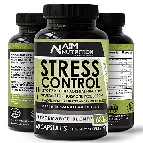 Stress Control Capsules Natural Supplement - Natural Herbal Formula Developed to Promote Calm, Positive Mood – 60 Vegan Capsules