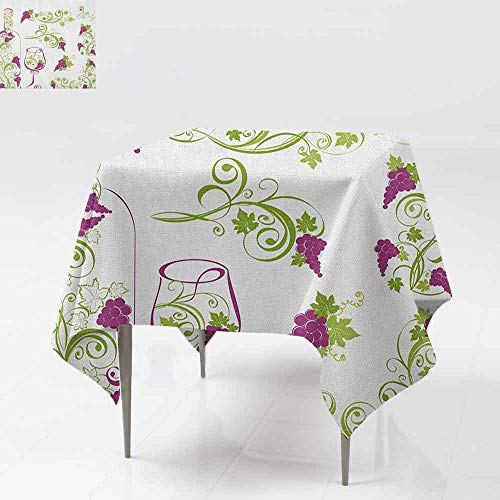 AndyTours Spillproof Tablecloth,Wine,Wine Bottle and Glass Grapevines Lettering with Swirled Branches Lines,Great for Buffet Table, Parties& More,36x36 Inch Purple Lime Green White
