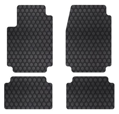 Intro-Tech Hexomat Front and Second Row Custom Floor Mats for Select Volkswagen Passat Models - Rubber-like Compound (Black)