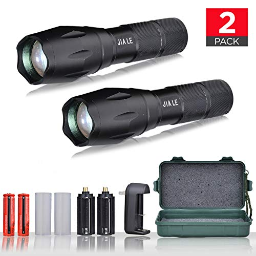 JIA LE Tactical Flashlight Super Bright Led T6 Cree Flashlights 1000 Lumens with 2 Rechargeable 18650 Lithium Ion Batteries and Charger Water Resistant, Ideal For Camping Emergency, 2 Piece