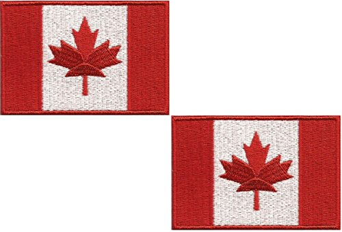A-14, 2 pieces patches iron on Canada Flag Embroidered Patch iron on Canadian Maple Leaf Sew On National Emblem Approx. 2.9 x 1.96 inches (7.6 x 5 cm)canada patch for backpacks
