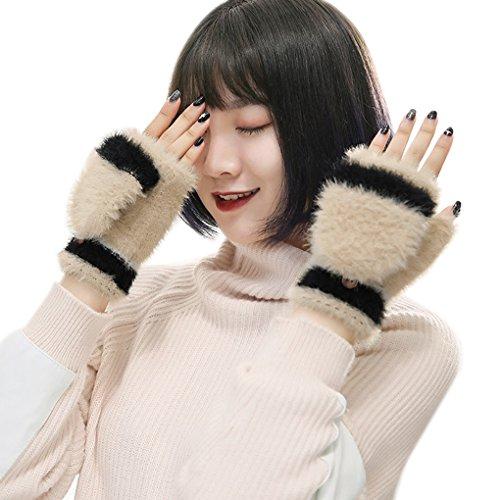 レタス起点かわいらしいレディース 手袋 グローブ フェイクファー 配色設計 半指 ミトンカバー付き 2way 指なし あったか 防寒 スマホ対応 デスクワーク アウトドア お出かけ ファッション小物 プレゼント 女性用 冬物 3色