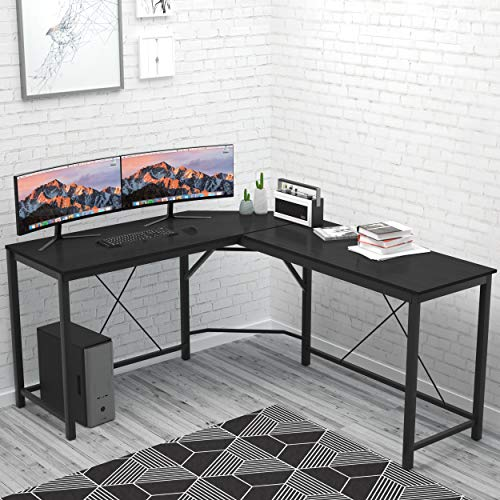 L Shaped Desk Home Office Desk Large Desk Panel. Coleshome Computer Desk Sturdy Computer Table Writing Desk Workstation, Black ()