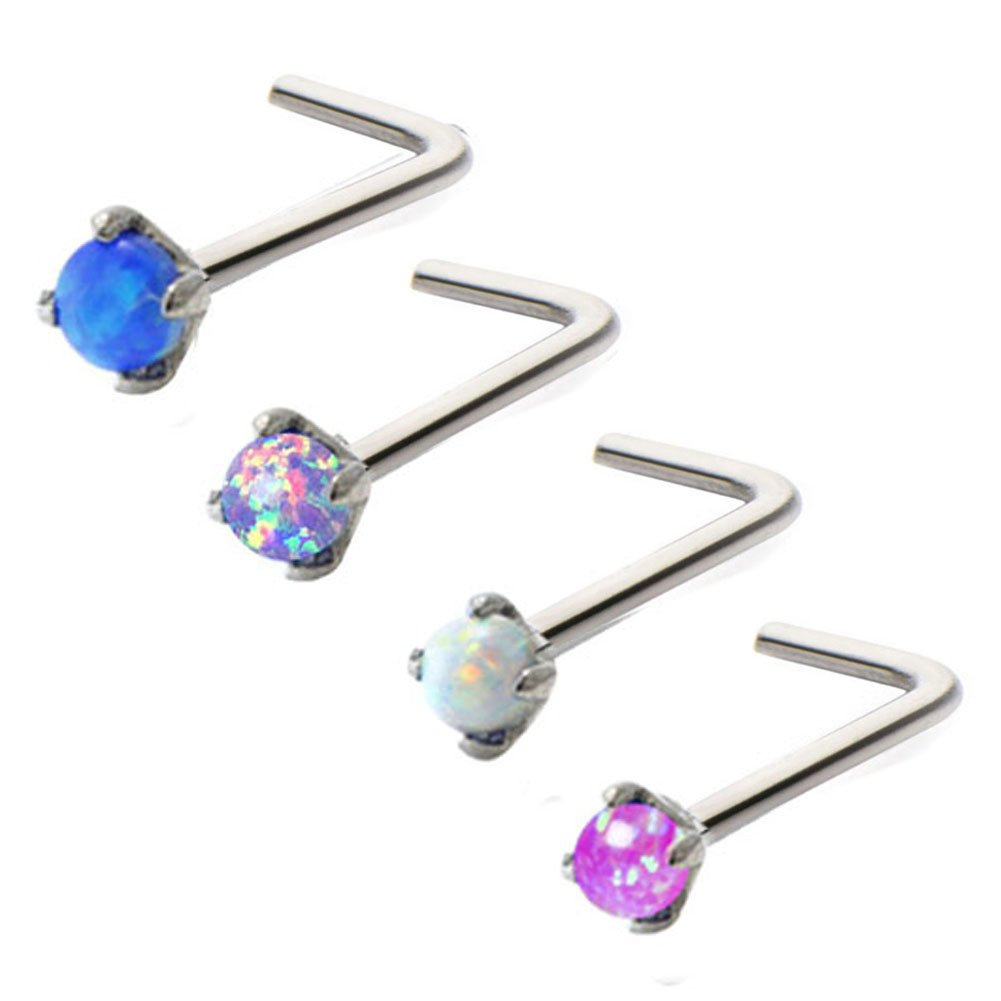 Stainless Steel Prong Set 2.5mm Opal L-shaped Nose Rings (4PCS) by Peki Nose Rings