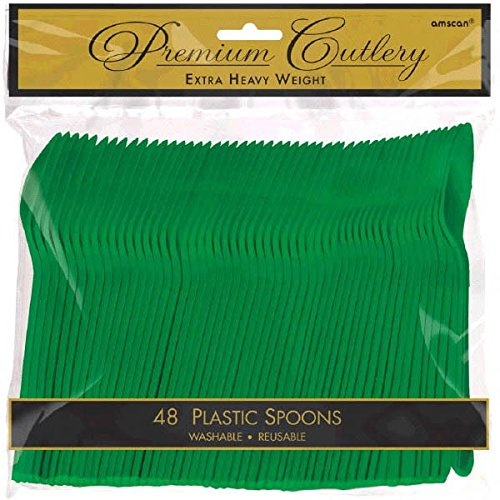 Amscan 8011.03 Premium Heavy Weight disposable-spoons, Full Size, Festive - Spoons Plastic Lime Green
