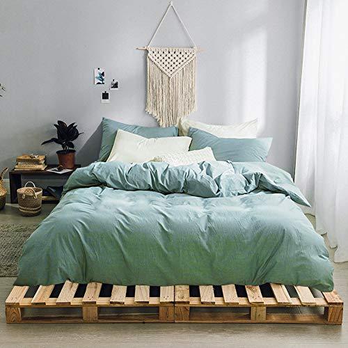 Gravan 3-Piece Duvet Cover Set, 100% Washed Cotton Duvet Cover, Ultra Soft Solid Color Modern Style Bedding Set Natural Wrinkled Look (Green, King)