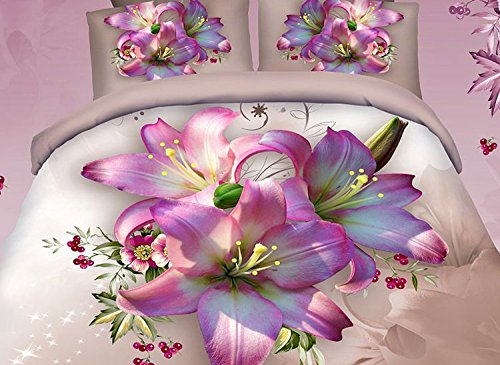 Luxury 100% Cotton 3D Printed Pink Lily Duvet - Butterfly Queen Bed In A Bag