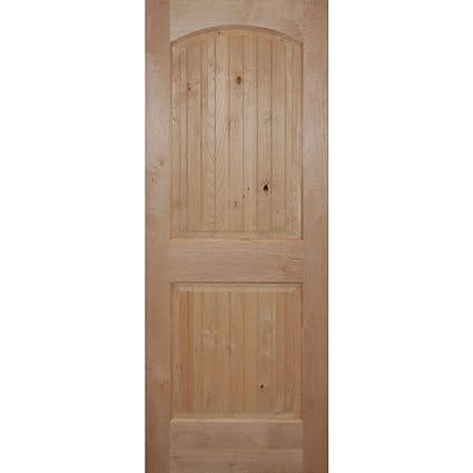 Builderu0027s Choice Knotty Alder 2 Panel Arch Top V Grooved Interior Door Slab