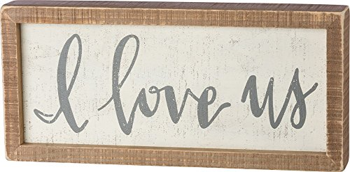 """Primitives by Kathy 38506 Inset Hand-Lettered Box Sign, 12"""" x 5.5"""", I Love Us"""