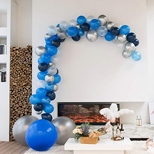 XmasExp 16FT Party Balloon Arch & Garland Kit - 97 Pieces Diamond Blue & Pearl White Jumbo Size Latex Balloons with Accessories (Black And White Strip Balloons)